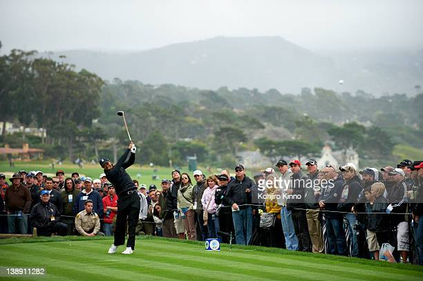 Pebble Beach National ProAm Tiger Woods in action from 14th tee during Satruday play at Spyglass Hill GC Pebble Beach CA CREDIT Kohjiro Kinno