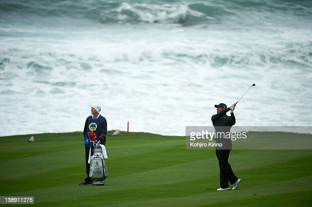 Pebble Beach National ProAm Tiger Woods in action second shot from 10th tee during Satruday play at Spyglass Hill GC Pebble Beach CA CREDIT Kohjiro...