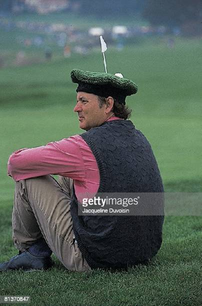 Golf: Pebble Beach Pro-Am, Closeup of actor Bill Murray with unusual hat during Saturday play, Pebble Beach, CA 2/4/1995