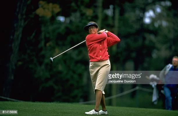 Golf: Pebble Beach Pro-Am, Sally Voss Krueger in action, drive on Thursday, Pebble Beach, CA 2/1/1996
