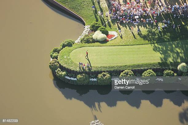 Golf PGA Championship Aerial scenic view from MetLife blimp of Tiger Woods in action drive from tee on No 18 during Sunday play at Medinah CC Medinah...