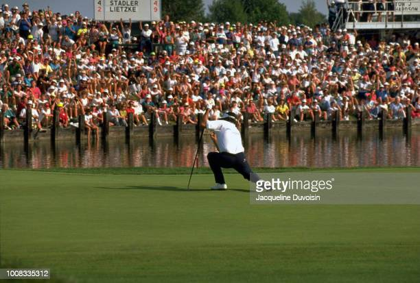Championship: Bruce Lietzke victorious after putt at Crooked Stick GC Carmel, IN 8/8/1991 -- 8/11/1991 CREDIT: Jacqueline Duvoisin