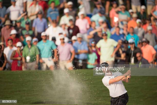 PGA Championship Chris Stroud in action chipping from sand trap during Sunday play at Quail Hollow Club Charlotte NC CREDIT Robert Beck