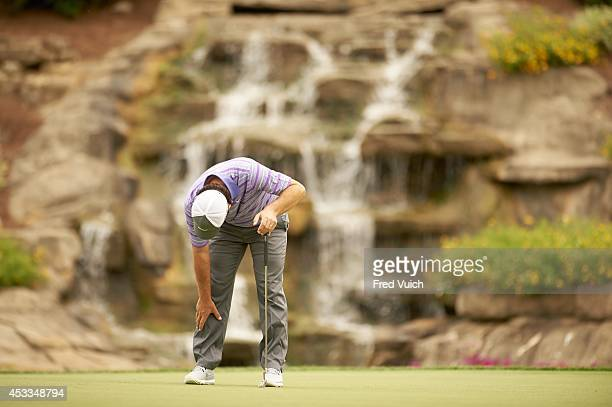 PGA Championship Francesco Molinari upset reacting to missed putt on No 13 green during Thursday play at Valhalla Golf Club Louisville KY CREDIT Fred...