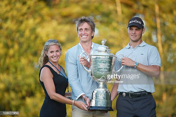 PGA Championship Golf PGA Championship Martin Kaymer victorious holding Rodman Wanamaker Trophy with his girlfriend Allison Micheletti and agent...