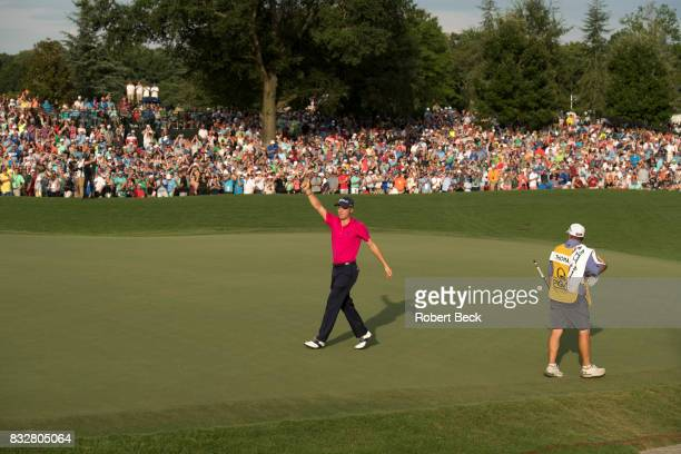 Championship: Justin Thomas victorious after winning tournament after Sunday play at Quail Hollow Club. Charlotte, NC 8/13/2017 CREDIT: Robert Beck