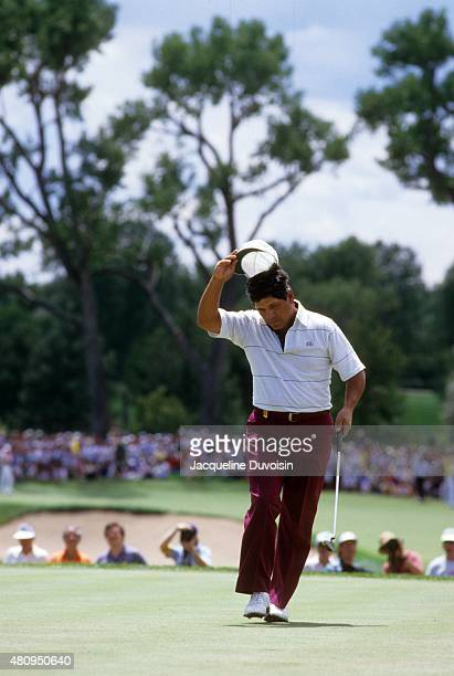 PGA Championship Lee Trevino tipping his cap during Sunday play at Cherry Hills CC Cherry Hills Village CO CREDIT Jacqueline Duvoisin