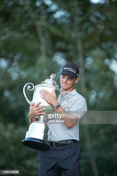 PGA Championship Martin Kaymer victorious holding Rodman Wanamaker Trophy after winning tournament during Sunday Playoff at Straits Course of...