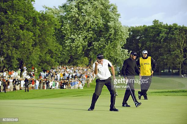 Championship: Padraig Harrington victorious after making par putt on No. 18 during Sunday play at Oakland Hills CC. Bloomfield Hills, MI 8/10/2008...