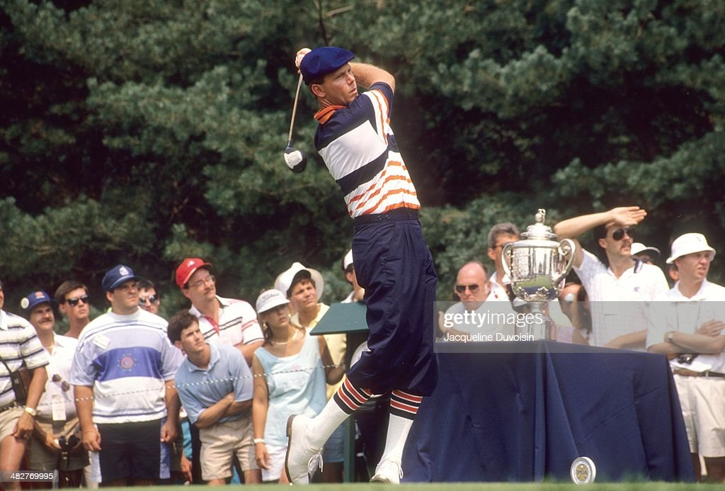 Payne Stewart In Action Drive During Sunday Play At Kemper Lakes