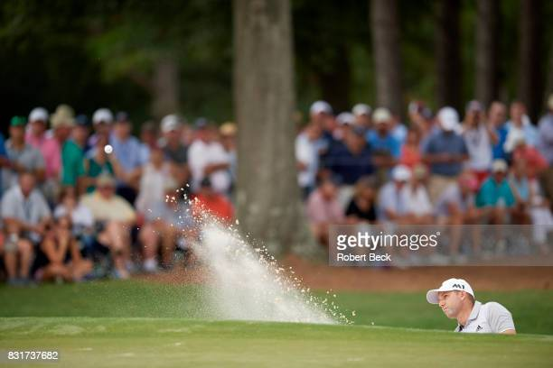 PGA Championship Sergio Garcia in action chipping out of sand trap during Friday play at Quail Hollow Club Charlotte NC CREDIT Robert Beck