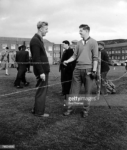 Golf PGA Closed Golf Championship April 1957 Maerdy Llandudno Britains Bernard Hunt is pictured with his brother Geoff at the tournament