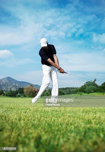 ゴルフ選手。最適な撮影には、コースです。