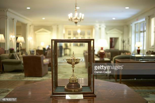 Portrait of 1963 Ryder Cup Trophy awarded to Bobby Jones in clubhouse during photo shoot at East Lake GC Atlanta GA CREDIT Darren Carroll