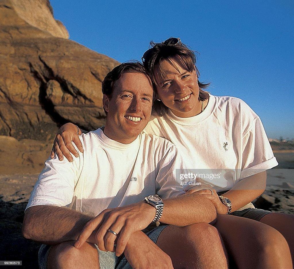 Portrait of Annika Sorenstam and husband David Esch during photo shoot. Del Mar, CA 3/6/1997