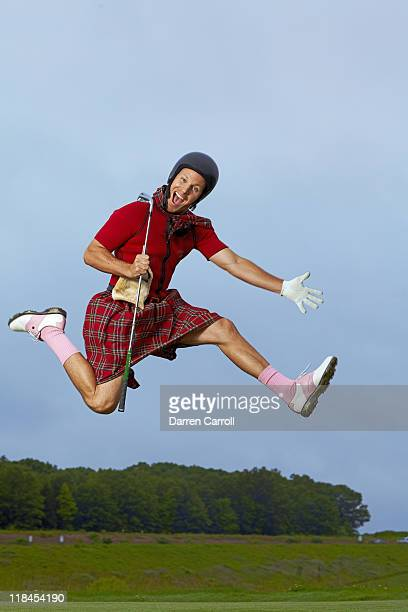 Portrait of Ben Crane wearing kilt during photo shoot at TPC River Highlands Cromwell CT CREDIT Darren Carroll