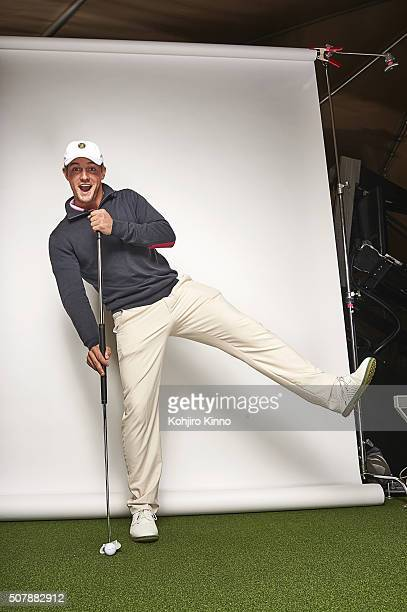 Portrait of Bryson DeChambeau demonstrating sidesaddle with a long putter during photo shoot at Mike Schy Golf Performance Institute on Dragonfly GC...