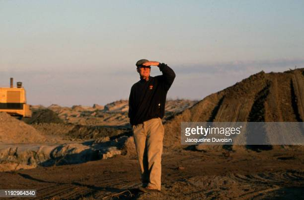 Portrait of course architect and designer Pete Dye during photo shoot on construction site that will become The Ocean Course at Kiawah Island Golf...