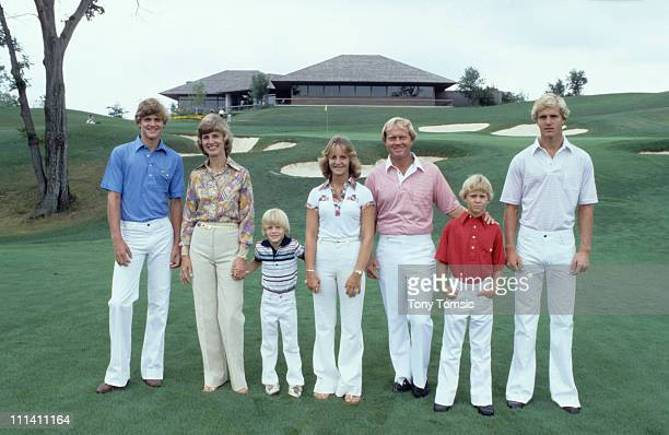 Portrait of Jack Nicklaus with his family son Steve, wife Barbara, son Michael, daughter Nan, sons Gary and Jackie during photo shoot at Muirfield...