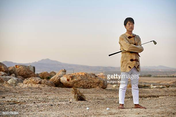 Portrait of Kevin Na wearing straitjacket during photo shoot in the desert outside of Las Vegas. Clark County, NV 8/20/2015 CREDIT: Kohjiro Kinno