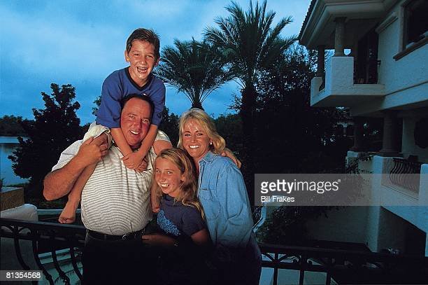 Golf Portrait of Mark O'Meara with son Shaun daughter Michelle and wife Alicia at home in Isleworth community Orlando FL 9/24/1998