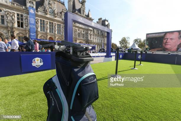 A golf practice in the golf initiation village inaugurate on the steps of Paris Town Hall on September 20 2018 This village was installed in response...