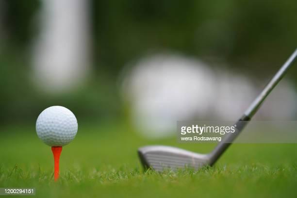 golf practice - golftee stock-fotos und bilder