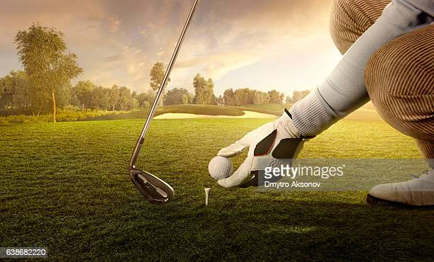 golf: preparing for strike - golf swing stock pictures, royalty-free photos & images