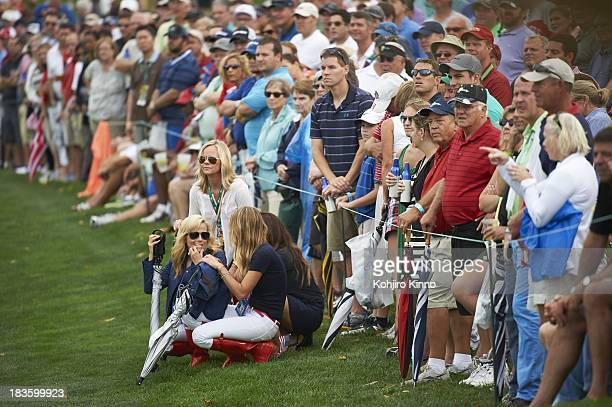 Presidents Cup Amy Mickelson wife of Phil Mickelson with Jillian Stacey girlfiriend of Keegan Bradley during Thursday Fourball Matches at Muirfield...