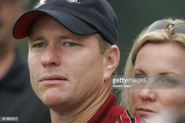 Golf Presidents Cup Closeup of USA Scott Verplank with wife Kim during Saturday fourball match at Robert Trent Jones GC Prince William County VA...