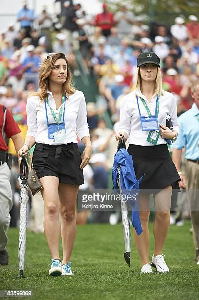 Presidents Cup Ellie Day wife of Jason Day with Graham Ruby wife of Graham Ruby de Laet's follow the play during Thursday Fourball Matches at...