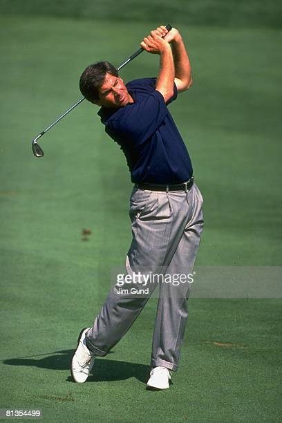 Golf: Presidents Cup, Fred Couples in action during drive on Saturday at Robert Trent Jones GC, Manassas, VA 9/14/1996