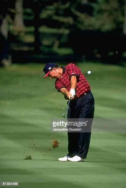 Golf Presidents Cup Mark O'Meara in action drive on Sunday at Robert Trent Jones GC Manassas VA 9/15/1996