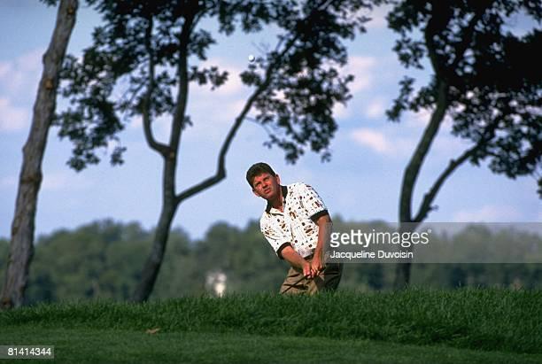 Golf: Presidents Cup, Nick Price in action, chip on Sunday at Robert Trent Jones GC, Manassas, VA 9/15/1996