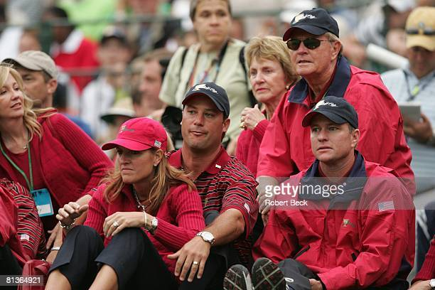 Golf Presidents Cup USA captain Jack Nicklaus with Scott Verplank Chris DiMarco and his wife Amy during Saturday Fourball Matches at Robert Trent...