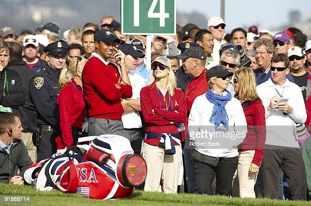 Presidents Cup USA Tiger Woods with wife Elin Woods on No 14 during Thursday Foursomes Matches at Harding Park GC San Francisco CA 10/8/2009 CREDIT...