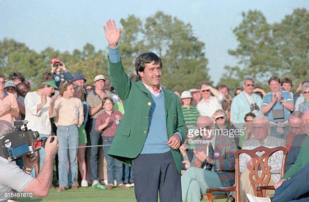 Golf pro Seve Ballesteros waves after winning the 1983 Masters Championship at the Augusta Golf Course. He is wearing the coveted Green Jacket.