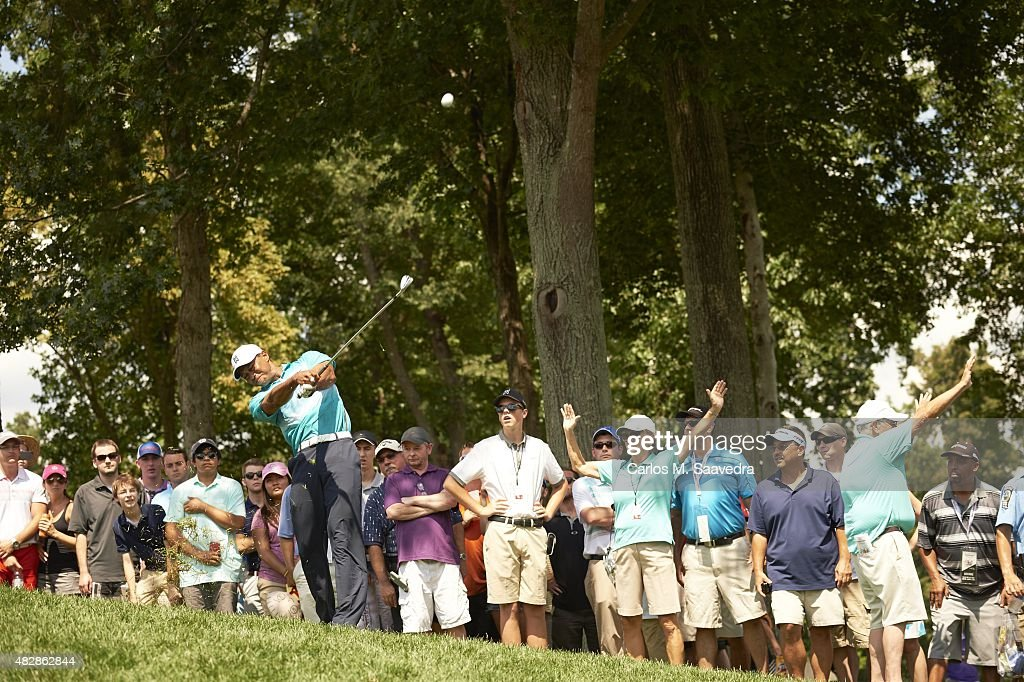 Tiger Woods in action during Saturday play at Robert Trent