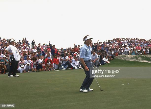 Golf: Ryder Cup, Europe Bernhard Langer upset after missing tournament tying putt during Sunday play at Kiawah Island Golf Resort, Johns Island, SC...