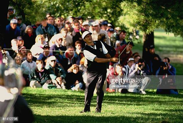 Golf Ryder Cup Europe Seve Ballesteros in action during Saturday play at Oak Hill CC Rochester NY 9/23/1995
