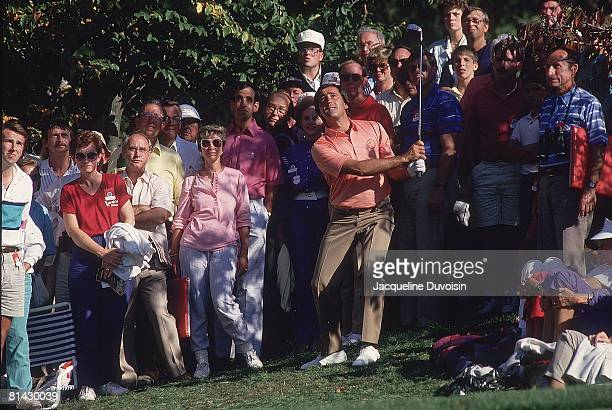 Golf Ryder Cup Europe Seve Ballesteros in action during Saturday play vs USA at Muirfield Village GC View of fans in gallery Dublin OH 9/26/1987