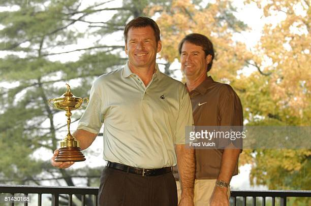 Golf Ryder Cup Portrait of Team Europe captain Nick Faldo and Team USA captain Paul Azinger with Ryder Cup trophy on Monday at Valhalla GC Louisville...