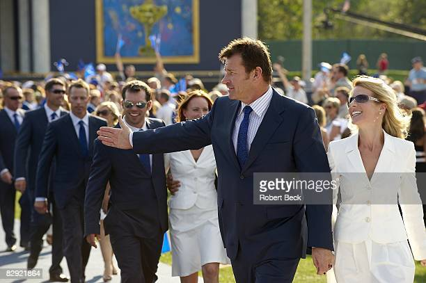 Ryder Cup Team Europe captain Nick Faldo with exwife Valerie during Opening Ceremony on Thursday at Valhalla GC Louisville KY 9/18/2008 CREDIT Robert...