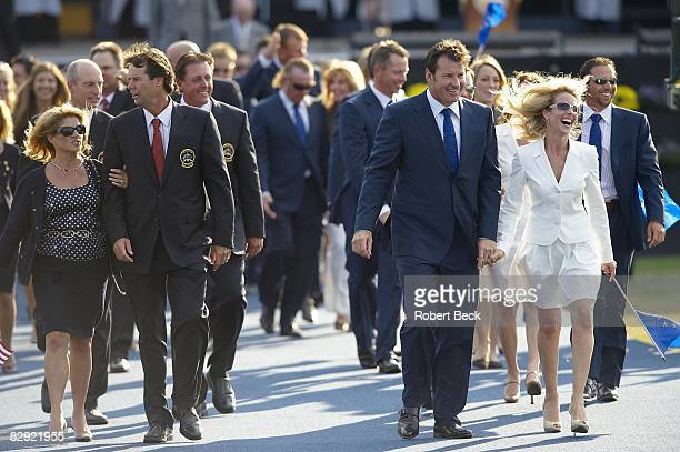 Ryder Cup Team USA captain Paul Azinger with wife Toni and Team Europe captain Nick Faldo with exwife Valerie during Opening Ceremony on Thursday at...