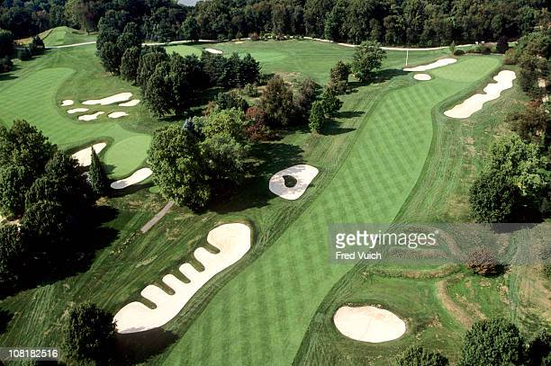 Scenic aerial view of No 15 hole Church Pews bunker at Oakmont Golf ClubOakmont PA 1/1/1993 CREDIT Fred Vuich