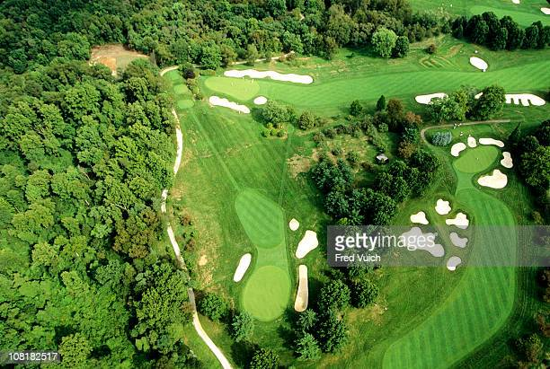 Scenic aerial view of No 15 No 16 and No 17 holes at Oakmont Golf ClubOakmont PA 1/1/1993 CREDIT Fred Vuich