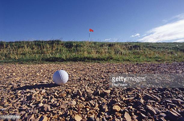 Scenic view of ball on No 17 Road Hole at Old Course St Andrews Scotland 1/1/1990 CREDIT Fred Vuich 080080149