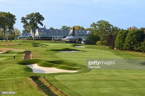 Scenic view of No 18 hole and clubhouse at Oakmont CC Oakmont PA CREDIT Fred Vuich