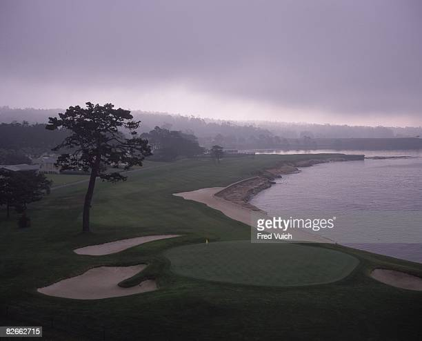 Scenic view of par 5 No 18 at Pebble Beach Golf Links Pebble Beach CA 1/1/1990 CREDIT Fred Vuich