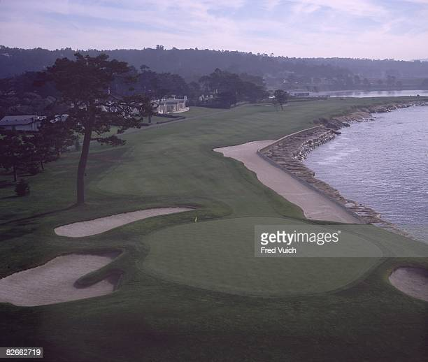 Scenic view of par 5 No. 18 at Pebble Beach Golf Links. Pebble Beach, CA 1/1/1990-- CREDIT: Fred Vuich